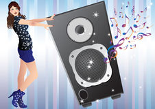 A Pretty Girl And A Speaker. Royalty Free Stock Image