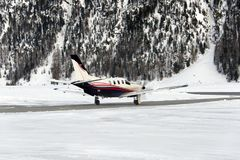 A Private Jet Is Ready To Take Off In The Airport Of St Moritz Switzerland In Winter Royalty Free Stock Photo