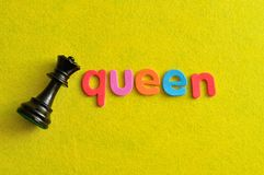 Free A Queen Chess Piece With The Word Queen Royalty Free Stock Images - 115568549