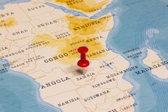 Free A Red Pin On Zambia Of The World Map Stock Photo - 170212730