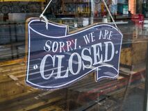 Free A Restaurant `Sorry, We`re Closed` Glass Door Sign. Royalty Free Stock Image - 182981596