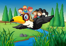 A River, A Bird And Kids Stock Images