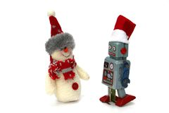 Free A Robot And A Snowman Are Ready To Celebrate Christmas And New Year Stock Photo - 163614110