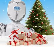 Free A Robot And Wrapped Christmas Presents As Postal Parcels 3d-illustration Royalty Free Stock Photography - 162425947