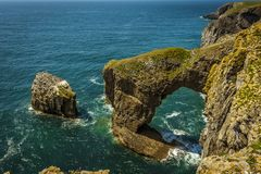 Free A Rock Stack With Razerbill Gulls On The Pembrokeshire Coast, Wales Stock Images - 107652684