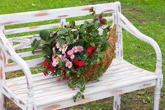 A Romantic Arrangement With A Cornucopia Filled With Flowers. Stock Images