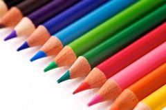 A Row Of Colourful Pencils Stock Photos
