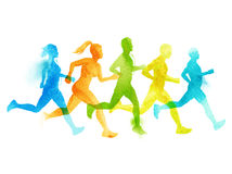 A Running Group Of Active People Stock Image