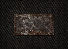A Rusty Steel Plate On A Black Metallic Background Stock Images