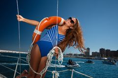 A Sailing Yacht Royalty Free Stock Image