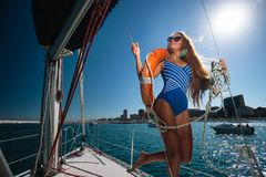 A Sailing Yacht Stock Image