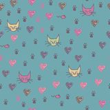 A Seamless Pattern Of Cats Footprint Prints Stock Photography