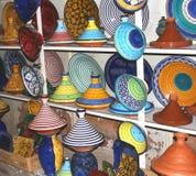 A Selection Of Colorful Moorish Pottery, Marrakesh,Marocco Stock Photos