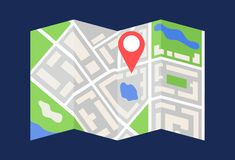 Free A Semi-compiled Map Of The City With Geo-targeting, Geography, Geotag, Geolocation, Search For A Way, Guide, Direction To A Stock Photos - 167088873