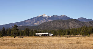 A Semi Tanker Truck And The San Francisco Peaks Stock Photography