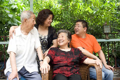 A Senior Couple And Their Children Stock Image