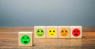 Free A Series Of Blocks With Faces From Happy To Angry. Happiness Face Selected. Concept Of Good Rating, Review And Feedback. Satisfied Stock Images - 163746334