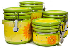A Set Of Four Handmade, Colorful Ceramic Storages Stock Photos