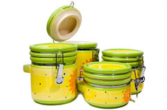 A Set Of Four Handmade, Colorful Ceramic Storages Royalty Free Stock Image