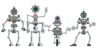 Free A Set Of Various Humanoid Robots. Vector Illustration. Stock Photo - 145149990