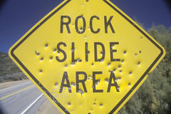 Free A Sign That Reads �Rock Slide Area� Stock Photography - 52303452