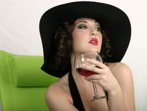A Sip Of Wine Stock Photo