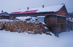 A Small Village Was In Snowing Royalty Free Stock Image
