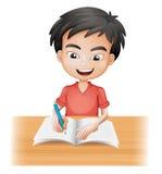 A Smiling Boy Writing