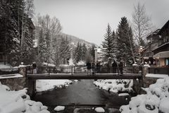 Free A Snow Covered Bridge In Vail, Colorado During The Winter. Stock Photo - 120695930