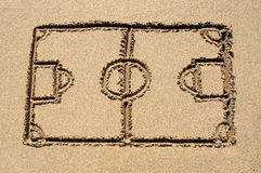 A Soccer Pitch Drawn On Sand. Stock Photos