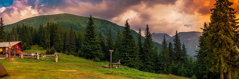 Free A Special Evening In Mountains At The Cottage Stock Photography - 145917632