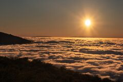 Free A Spectacular Sunset Above The Clouds In The National Park Of The Volcano Teide On Tenerife. Excellent Sunset In The Canary Royalty Free Stock Image - 214190566