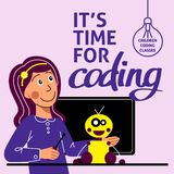 A Square Image Of A Girl Who Studies Robotics. A Vector Image For A Flyer Or A Poster For The Children Coding School. Blue And Pur Royalty Free Stock Image
