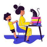 A Square Vector Image Of A Woman Working At Home With Her Child Near. Stock Image