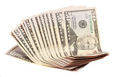 A Stack Of Fifty 50 Dollar Bills Fanned Out Stock Photo