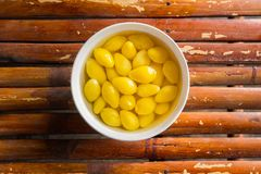Free A Sweet Ginkgo Nut Soup ON Bamboo Table Image Top View Royalty Free Stock Images - 99661449