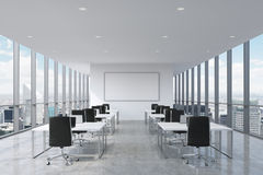Free A Symmetric Corporate Workplaces Equipped By Modern Laptops In A Modern Panoramic Office In New York City. Royalty Free Stock Photo - 60967255