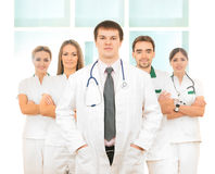 A Team Of Young Caucasian Doctors In White Clothes Royalty Free Stock Photo