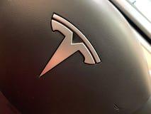 Free A Tesla Model 3 Steering Wheel At A Tesla Retail Store Royalty Free Stock Image - 173989026
