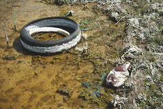 Free A Thrown Away Tire In A Puddle. Royalty Free Stock Photography - 215643037