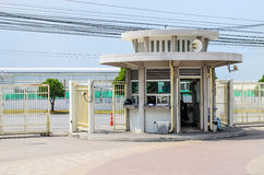 A Toll Booth With Blank Signs At The Entrance Stock Photo