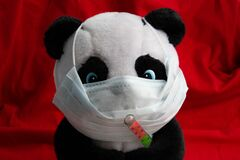 Free A Toy Panda In A Medical Mask With A Thermometer Sits On A Red Background. Coronavirus Treatment Concept Stock Photos - 171664443