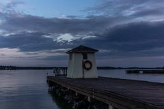Free A Traditional Lifeguard And Changing Dress Shelter On A Wooden Pier Near The Town Of Porvoo In Finland At Sunset In Summer - 1 Royalty Free Stock Image - 154976896