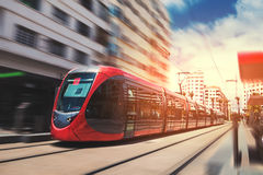 Free A Tram Passing On The Railway In A Sunny Day - Casablanca - Moro Royalty Free Stock Image - 97117686