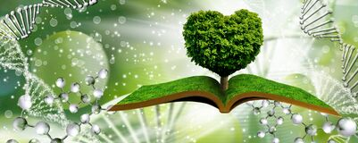 A Tree In The Shape Of A Heart On Books On A Background Of A Fantastic Landscape With Dna Stock Photography
