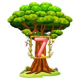 A Tree With A Number Seven Figure On A White Background Royalty Free Stock Photography