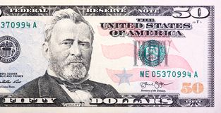 A U.S. Fifty 50 Dollar Bill Close Up Of Grant. Royalty Free Stock Image