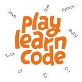 A Vector Image With A Lettering `play Learn Code`. A Children Coding Theme Isolated Text With The Programming Languages Royalty Free Stock Photography