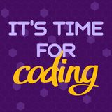 A Vector With A Text It`s Time For Coding. A Freehand Text With The Purple Background For Children Coding School Royalty Free Stock Photography