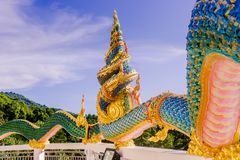 A Very Beautiful Naga A Very Great Serpent Statue Surrounding The Pagoda At Doi Thepnimit Temple On Patong Hilltop Stock Photography
